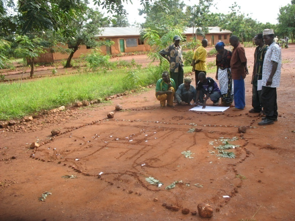 Participatory village land use planning. Future forest reserves are marked with leaves.